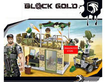 2017 hot compatible LegoINGlys Military Black gold program Army War command post Building blocks with figures weapons brick toys(China)