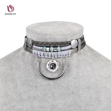 DANZE Indian Boho Style Leather Choker Necklace for Women Gothic Maxi Alloy C & Rhinestone Pendant Chocker Jewelry Collier Femme