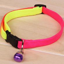Rainbow color adjustable pet dog puppy collar outdoor ring bell necklace collar on sale