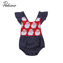 Blue Xmas Santa Claus 2017 Newborn Baby Girl Dots Romper Jumpsuit Playsuit Lovely Outfit