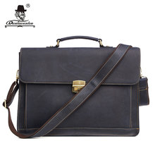 "DIOULAORENTOU 15.6"" Men's Leather Briefcases Men Business Genuine Leather Briefcase Vintage Laptop Handbag Computer Bags for Men(China)"