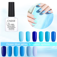 12 Color Blue Ocean Series UV Gel Nail Polish Long-Lasting Soak-off LED UV Gel Color Nail Polish Art Design 10ML