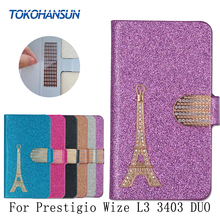 For Prestigio Wize L3 3403 DUO Case Luxury Bling Flip Wallet Effiel Tower Diamond 2017 New Hot PU Leather cover TOKOHANSUN Brand