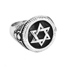 Star of David Ring High Quality Hexagonal Star Stainless Steel Jewelry Punk Eagle Motor Biker Ring Men Ring Wholesale SWR0674