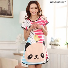 Healthy home dress nightgown women Cartoon Polka Dot Sleepwear Short Sleeve Casual Home Dress Night Shirt Sleepwear Nightwear(China)