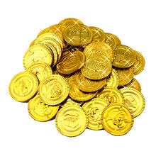 100Pcs Plastic Gold Treasure Coin Captain Pirate Coin Baby Kids Props Decoration(China)