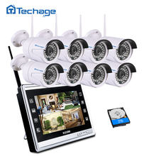 "Techage 8CH 960P Wireless NVR CCTV System Kit 11"" LCD Screen Monitor 1.3MP Outdoor IP66 Wifi IP Camera Security Surveillance Set"