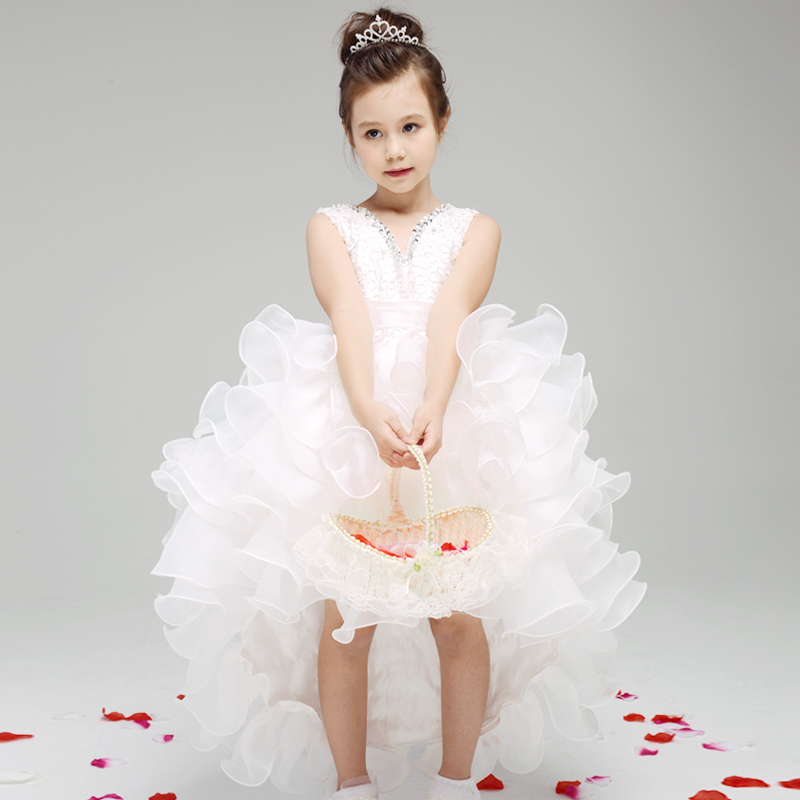 Girls Princess Party Dress White Lace Wedding Dress  Trailing Sequin Girl Birthday Party Dress Sleeveless First Communion Dress<br>