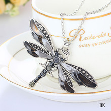 Freeshipping high quality Fashion Dragonfly Charms Chic Necklace With Chain Rhinestones Inlaid 6colors(China)