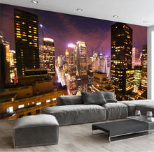 Custom Wall Mural Hong Kong City Night View 3D Landscape Murals Wallpaper Living Room Bedroom Wall Decor Papier Mural De Parede