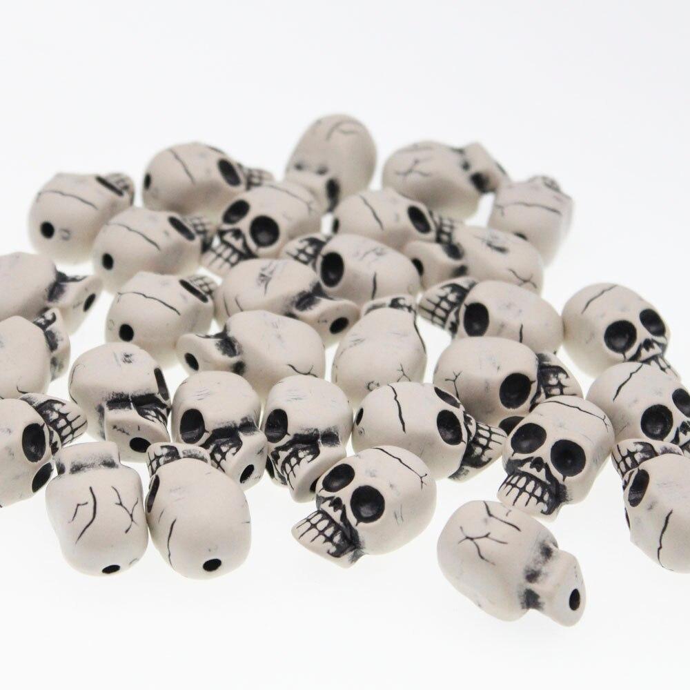 10 X Grande Acrílico Blanco Calavera Cabeza granos encantos 20 mm Plástico Halloween Gótico