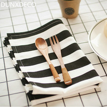 DUNXDECO Table Placemat Cotton Tea Towel Napkin Modern Nordic White Black Geometric Stripe Diamond Wedding Decoration Fabric
