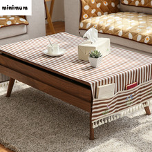 Linen cloth Coffee table tablecloth with storage bag Multifunction TV cabinet tablecloth refrigerat cover cloth rural style