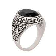 2017 Trendy Big Signet Vintage Rings For Women Oval Black Stone Rings Men Cool Rock Punk Antique Silver Ring Jewelry Wholesale
