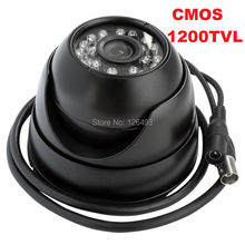 Free shipping Black color metal  waterproof security  cmos1200TVL mini dome analog camera for home,shops, buses