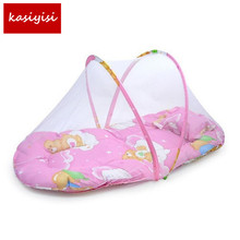 Summer Baby Bed with Mattress and Pillow Super Soft Crib Mosquito Netting Infant Folding Babies Mosquito Net Mattress TRQ0232(China)