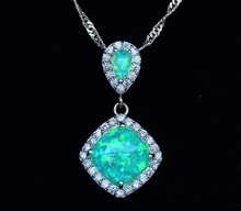 New Square Kiwi Green Fire Opal Pendant Necklace for Gift(China)