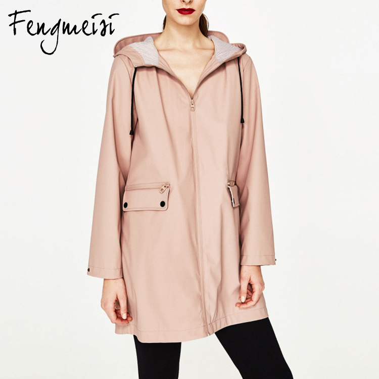 Fengmeisi Spring 2017 new pocket loose thin all-match hooded long windbreaker coat jacket women jackets P3576Îäåæäà è àêñåññóàðû<br><br>