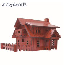 Abbyfrank 3D Wooden House Puzzle DIY Toys Puzzles Adults Construction Model Juguetes 3d Building Toys Wooden Puzzles For Kids(China)