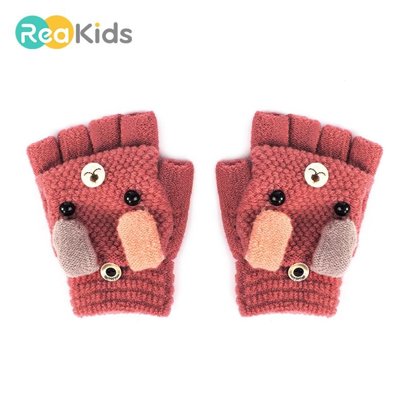 Kids Winter Glove,knit Flip Half FingerGloves Warm Mittens With Mitten Cover Cute Cartoon for 1-3 Ages Girls