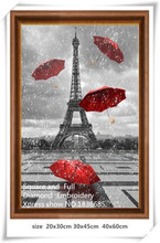 Eiffel Tower and a red umbrella,5D Diamond painting, diy Diamond embroidery Tower, Diamond Mosaic Kits Crystal Image picture