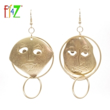 F.J4Z New Top Trending Earring Fashion Designer Antique Gold Finishing Hollow Face Circle Mix-matched Women's Drop Earrings(China)