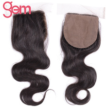 Gem Beauty Brazilian Remy Hair Body Wave Silk Base Closure 130% Density Human Hair Weave Lace Closure Free Part 4x4 closure