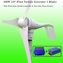 Great Discount 3 Blades 400W 24V Wind Turbine Generator With Wind Solar Hybrid Controller & 1KW Pure Sine Wave Inverter