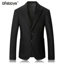 BFSBOYS  2017 New Arrival Men Business Black/Wine Red Blazer Mens Casual Full Jackets Male Fashion Suit Coats Overwear Clothing