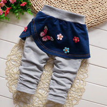 DIIMUU New Fashion Baby Girls Clothing Casual Denim Skirts Trousers Infant Baby Apparel Bow Flowers Cotton Elastic Waist Pants(China)