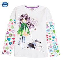 Girls tees long sleeve baby garment spring beaded printed nova kids clothing t shirts designs hot selling girls tops novatx(China)