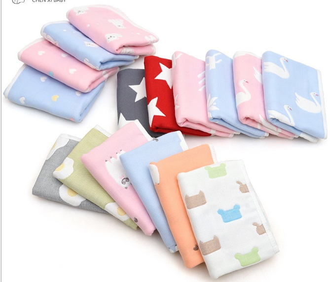Children Washcloth Baby Feeding Baby Face Towels Washers Hand Cute Cartoon Wipe Wash Cloth Cotton Face Towel Baby Boy Girl Towel