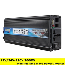 Professional 2000W Car Inverter DC 12V/24V to AC 220V Power Inverter Charger Converter Transformer Vehicle Power Supply Switch(China)