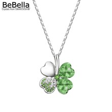 BeBella classic green lucky clover pendant necklace Made with Austrian crystals from Swarovski for 2017 women gift
