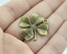 WYSIWYG 2pcs Antique Bronze Color 28*28mm good luck clover Charms For DIY Handmade Jewelry A10952