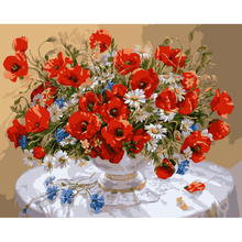 Digital oil painting, red poppy vase flower, pictures by numbers, hand painted canvas painting, wall pictures for home RS-68(China)