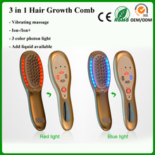 3 in 1 Electric USB Rechargeable Laser Hair Growth Massager Comb 3 Color LED Light Photon Therapy Hair Loss Treatment(China)