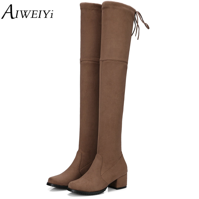 AIWEIYi 2017 New Women Boots Sexy Fashion Over the Knee Boots Sexy Square Med Heel Boots Platform Woman Shoes Black Size 34-43<br>