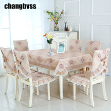 2017 New Rectangulaire 150*200cm Four Colors Table Cloth Lace Tablecloth Dining Table Cover 9 Pieces Lace Nappe Set For Wedding