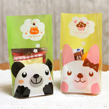 50pcs 14x20cm Green Yellow Panda Cat Bakery Cookie Candy Sweet Biscuit Gift Soap Favor Cello OPP Plastic Bag Party Decorations