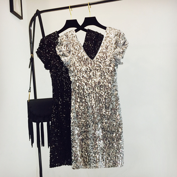 Sexy Sequin Mini Hip Dress Women Short Sleeve V Neck Shinny Beading Squined Night Club Dress Sparkly Cocktail Sexy Party Dresses 3