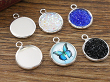 40pcs/lot 12mm Inner Size Silver Plated Brass Material Simple Style Cabochon Base Cameo Setting Charms Pendant Tray (A1-09)