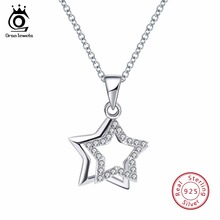 ORSA JEWELS 100% Real 925 Sterling Silver Pendants& Necklaces Shiny AAA Cubic Zircon Star Shape Women Fine Jewelry SN82(China)