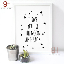 Love Quote Canvas Art Print Painting Poster, Wall Pictures For Child Room Decoration, Cartoon Wall Decor FA128-6(China)