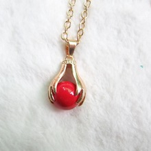 Inspired Design Golden Hand Holding 14mm Red Jingle Sounded Belly Ball Angelsurfer Necklace Gift