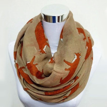 Free shipping New Fashion Fox Infinity Voile Scarf Animal Scarf Fox Scarves(China)