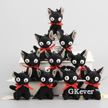 "Japanese Anime Kiki's Delivery Service Black Jiji Cat Plush Keychain Cute Mini Cat Soft Stuffed Animals 4"" 10 CM Kids Gift"
