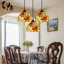 Tiffany European pendant light sunflower iron stained glass Restaurant lamp glass(China)