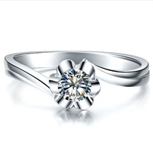 Solid 18K White Gold 0.25 CT Flower Shape Women Wedding Ring Solid AU 750 White Gold Last Forever Never Discolor(China)