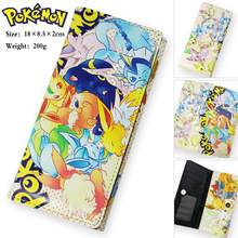 Colorful long style PU wallet printed w/ Anime Pocket Monster/ Pikachu Pikachu TYPE B